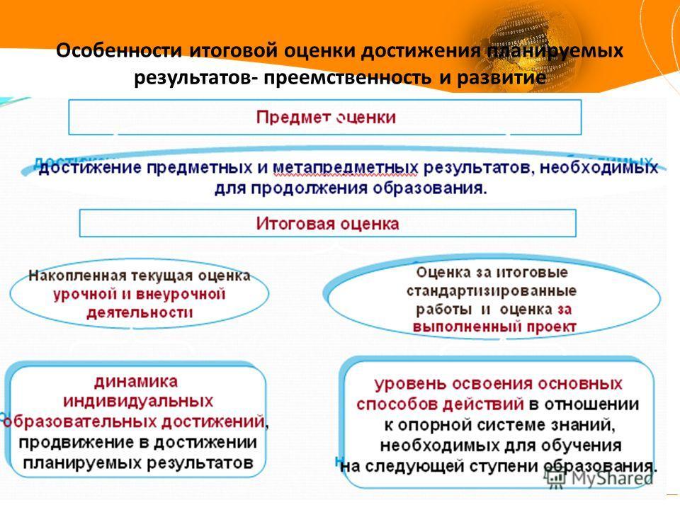 Особенности итоговой оценки достижения планируемых результатов- преемственность и развитие
