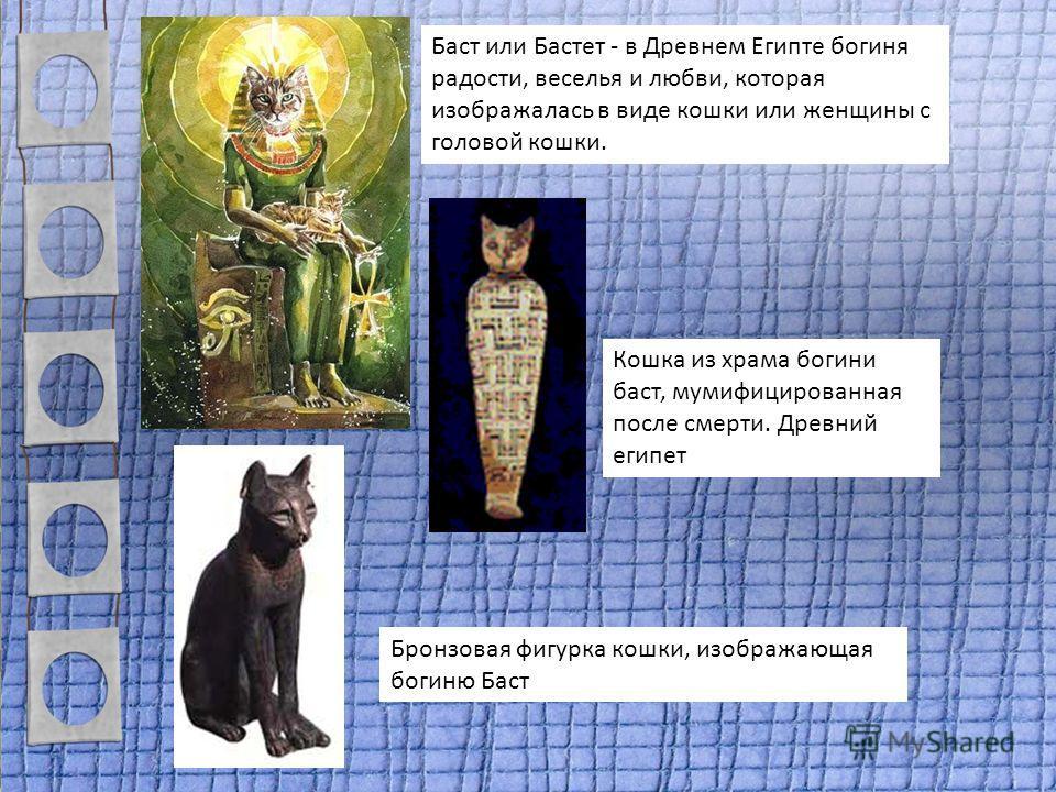Баст или Бастет - в Древнем Египте богиня радости, веселья и любви, которая изображалась в виде кошки или женщины с головой кошки. Кошка из храма богини баст, мумифицированная после смерти. Древний египет Бронзовая фигурка кошки, изображающая богиню
