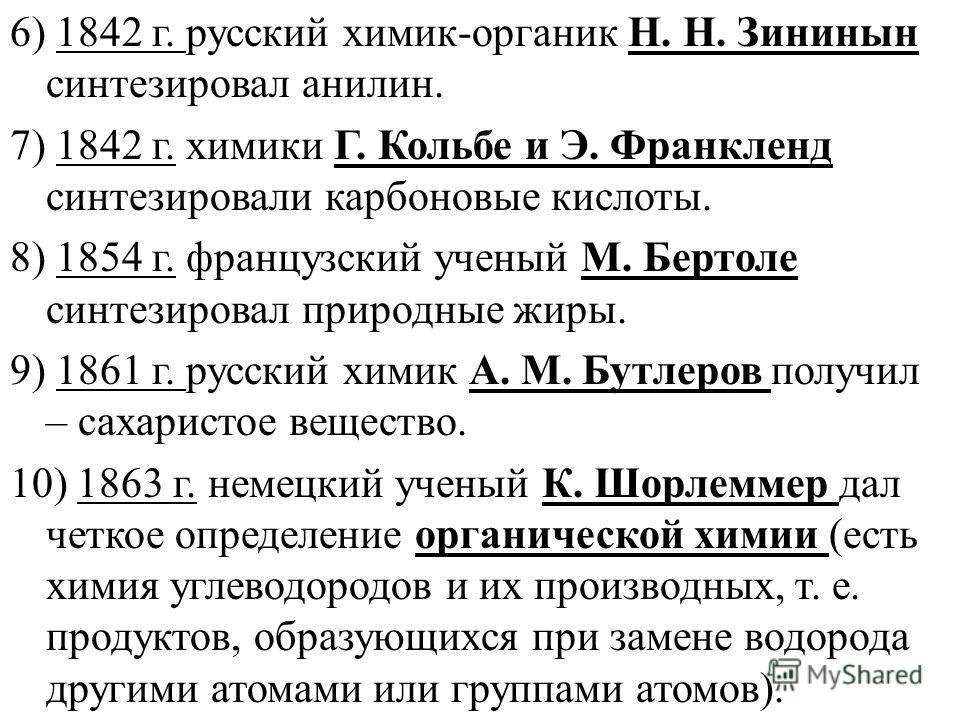 6) 1842 г. русский химик-органик Н. Н. Зининын синтезировал анилин. 7) 1842 г. химики Г. Кольбе и Э. Франкленд синтезировали карбоновые кислоты. 8) 1854 г. французский ученый М. Бертоле синтезировал природные жиры. 9) 1861 г. русский химик А. М. Бутл