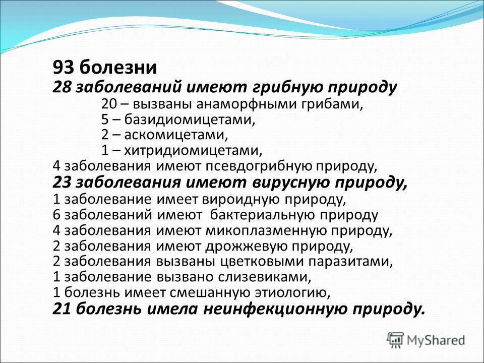 93 болезни 28 заболеваний имеют грибную природу 20 – вызваны анаморфными грибами, 5 – базидиомицетами, 2 – аскомицетами, 1 – хитридиомицетами, 4 заболевания имеют псевдо грибную природу, 23 заболевания имеют вирусную природу, 1 заболевание имеет виро