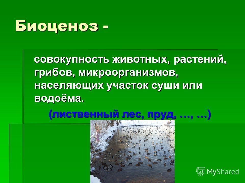 Биоценоз - совокупность животных, растений, грибов, микроорганизмов, населяющих участок суши или водоёма. совокупность животных, растений, грибов, микроорганизмов, населяющих участок суши или водоёма. (лиственный лес, пруд, …, …)