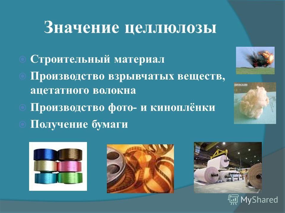 Значение целлюлозы Строительный материал Производство взрывчатых веществ, ацетатного волокна Производство фото- и киноплёнки Получение бумаги