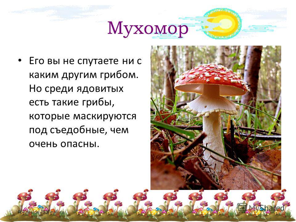 FokinaLida.75@mail.ru Мухомор Его вы не спутаете ни с каким другим грибом. Но среди ядовитых есть такие грибы, которые маскируются под съедобные, чем очень опасны.