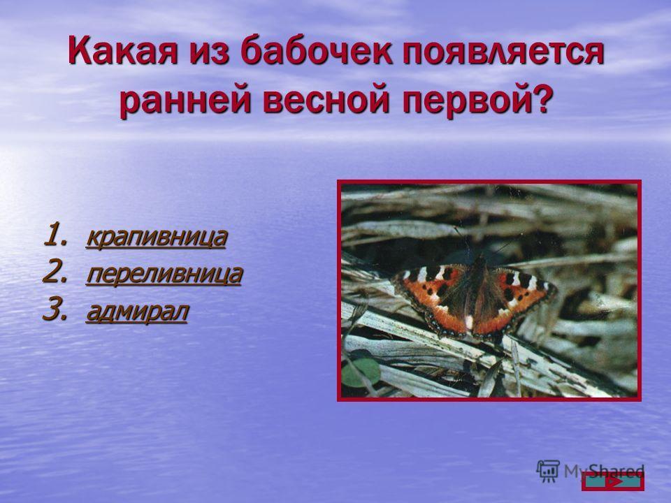Какая из бабочек появляется ранней весной первой? 1. крапивница крапивница 2. переливница переливница 3. адмирал адмирал