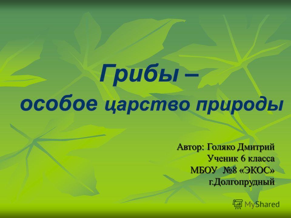 Автор: Голяко Дмитрий Ученик 6 класса МБОУ 8 «ЭКОС» г.Долгопрудный