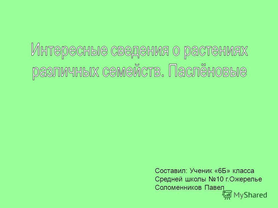 Составил: Ученик «6Б» класса Средней школы 10 г.Ожерелье Соломенников Павел