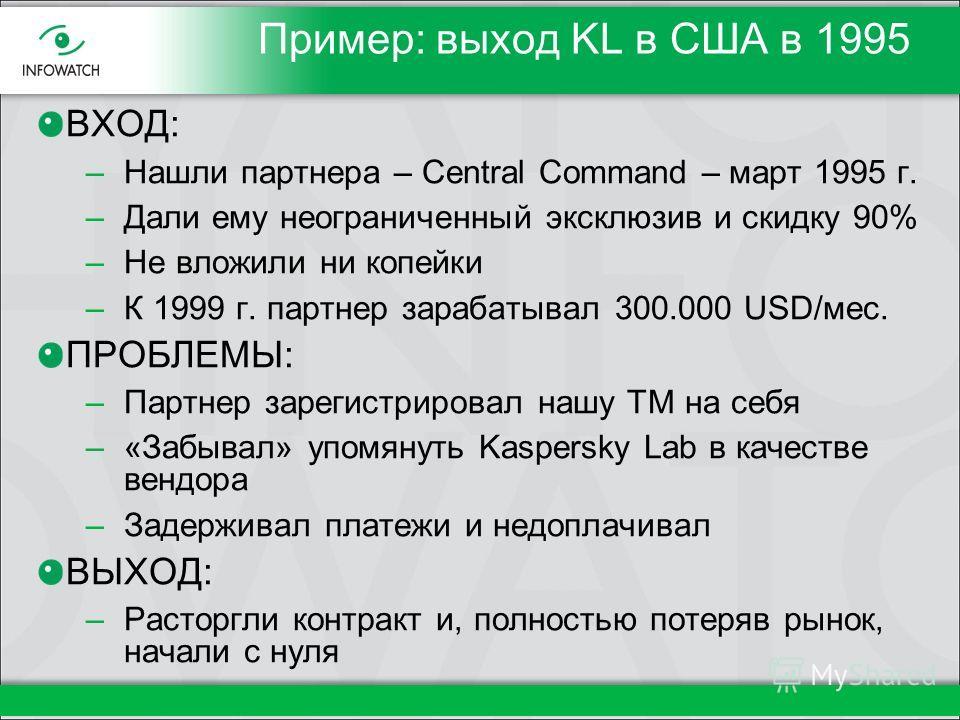 Пример: выход KL в США в 1995 ВХОД: –Нашли партнера – Central Command – март 1995 г. –Дали ему неограниченный эксклюзив и скидку 90% –Не вложили ни копейки –К 1999 г. партнер зарабатывал 300.000 USD/мес. ПРОБЛЕМЫ: –Партнер зарегистрировал нашу ТМ на
