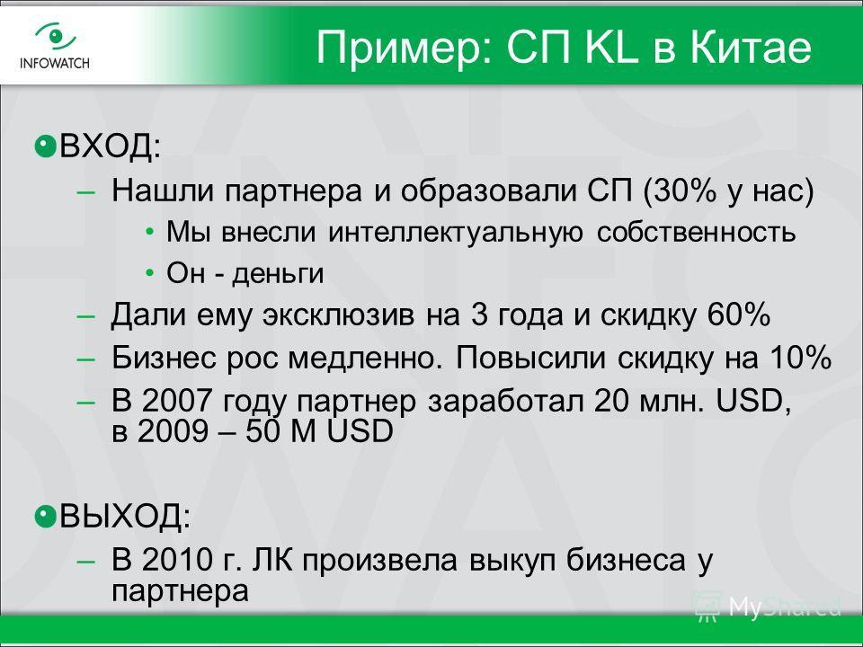Пример: СП KL в Китае ВХОД: –Нашли партнера и образовали СП (30% у нас) Мы внесли интеллектуальную собственность Он - деньги –Дали ему эксклюзив на 3 года и скидку 60% –Бизнес рос медленно. Повысили скидку на 10% –В 2007 году партнер заработал 20 млн