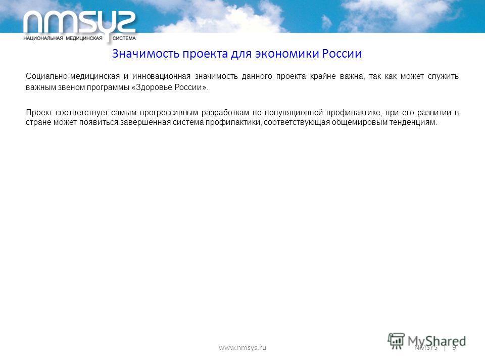 Значимость проекта для экономики России www.nmsys.ru Социально-медицинская и инновационная значимость данного проекта крайне важна, так как может служить важным звеном программы «Здоровье России». Проект соответствует самым прогрессивным разработкам