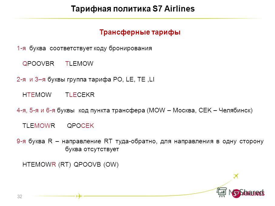 32 Тарифная политика S7 Airlines Трансферные тарифы 1-я буква соответствует коду бронирования QPOOVBRTLEMOW 2-я и 3–я буквы группа тарифа PO, LE, TE,LI HTEMOWTLECEKR 4-я, 5-я и 6-я буквы код пункта трансфера (MOW – Москва, CEK – Челябинск) TLEMOWR QP