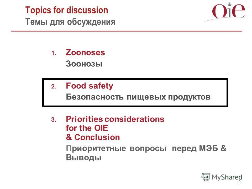 10 Topics for discussion Темы для обсуждения 1. Zoonoses Зоонозы 2. Food safety Безопасность пищевых продуктов 3. Priorities considerations for the OIE & Conclusion Приоритетные вопросы перед МЭБ & Выводы