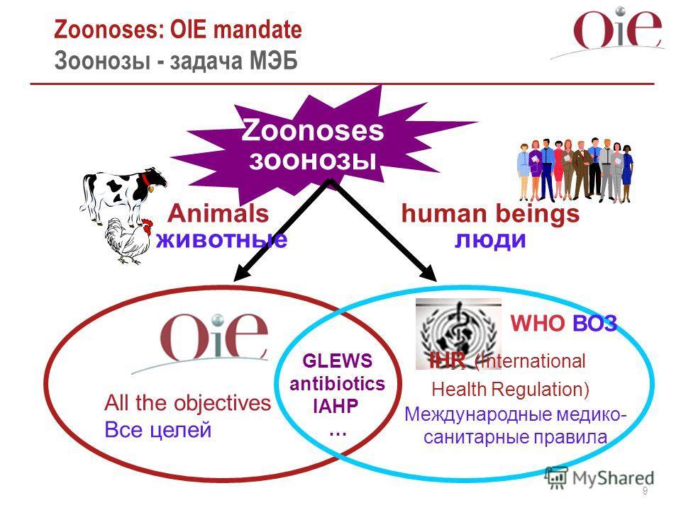 9 Zoonoses: OIE mandate Зоонозы - задача МЭБ Zoonoses зоонозы All the objectives Все целей WHO ВОЗ IHR (International Health Regulation) Международные медико- санитарные правила human beings люди GLEWS antibiotics IAHP … Animals животные