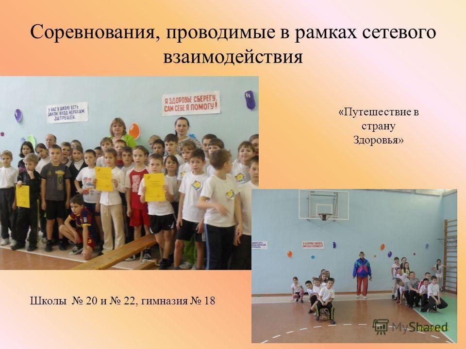 Соревнования, проводимые в рамках сетевого взаимодействия Школы 20 и 22, гимназия 18 « Путешествие в страну Здоровья»