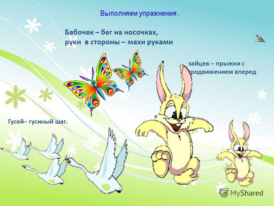 Выполняем упражнения. Бабочек – бег на носочках, руки в стороны – махи руками Гусей– гусиный шаг. зайцев – прыжки с продвижением вперед