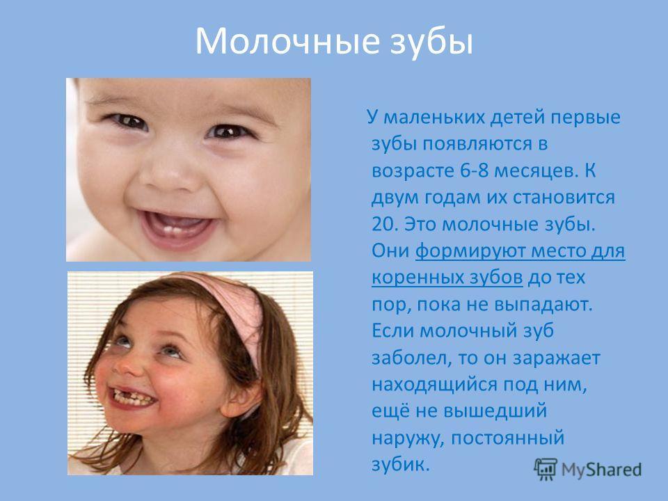 У маленьких детей первые зубы появляются в возрасте 6-8 месяцев. К двум годам их становится 20. Это молочные зубы. Они формируют место для коренных зубов до тех пор, пока не выпадают. Если молочный зуб заболел, то он заражает находящийся под ним, ещё