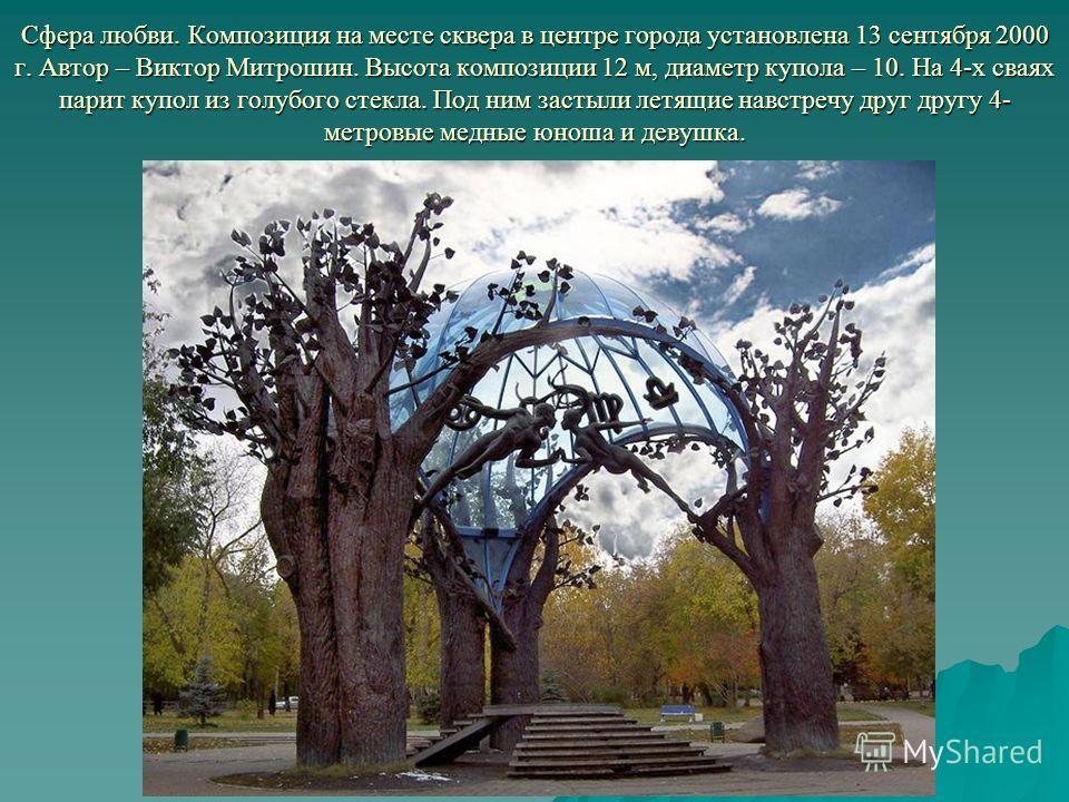 Сфера любви. Композиция на месте сквера в центре города установлена 13 сентября 2000 г. Автор – Виктор Митрошин. Высота композиции 12 м, диаметр купола – 10. На 4-х сваях парит купол из голубого стекла. Под ним застыли летящие навстречу друг другу 4-