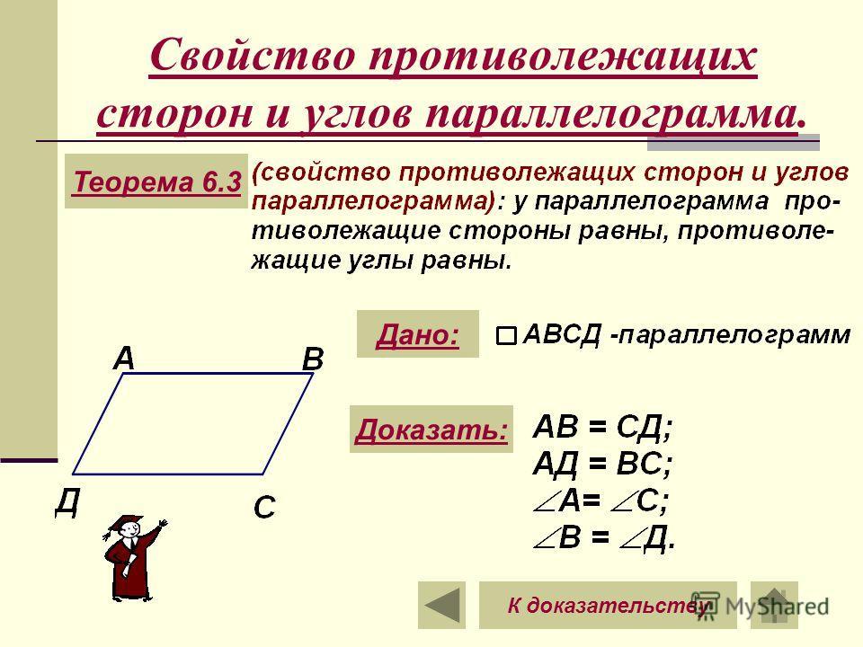 Свойство противолежащих сторон и углов параллелограмма. Теорема 6.3 Дано: Доказать: К доказательству