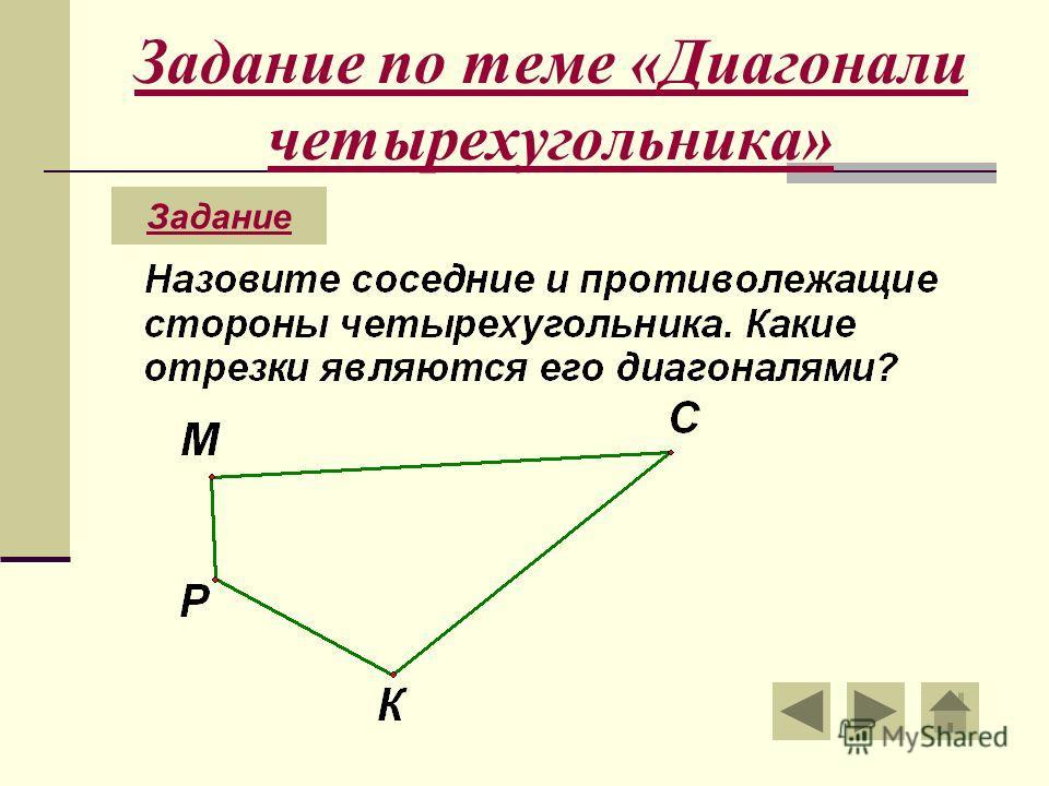 Задание по теме «Диагонали четырехугольника» Задание