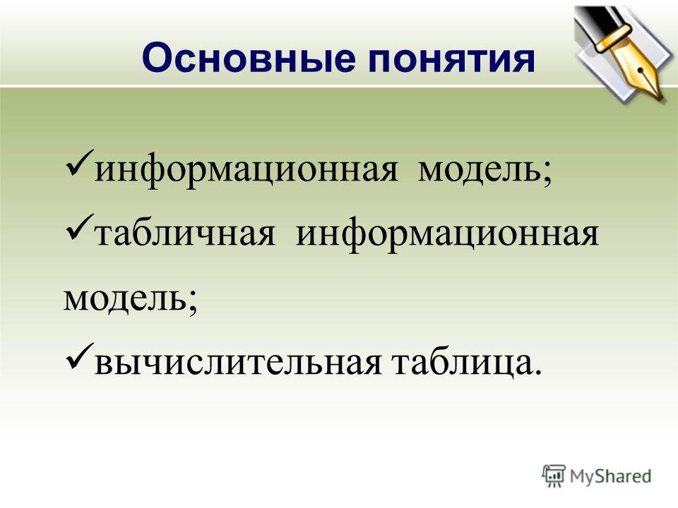 Основные понятия информационная модель; табличная информационная модель; вычислительная таблица.