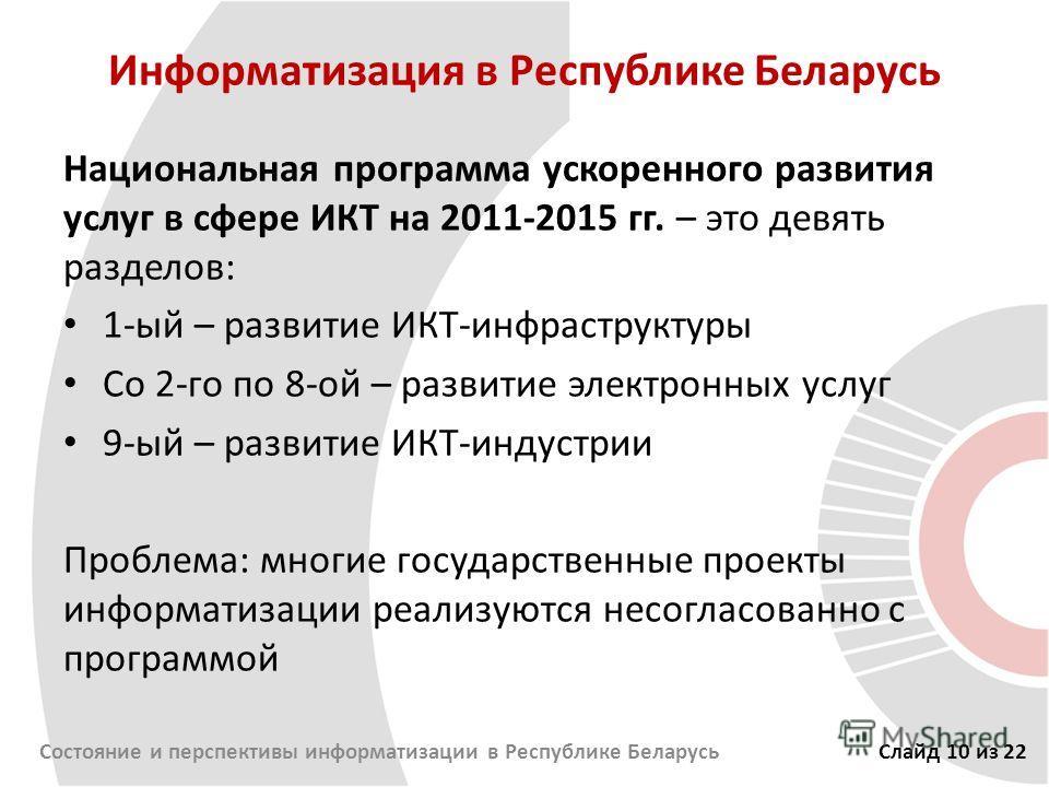 Информатизация в Республике Беларусь Национальная программа ускоренного развития услуг в сфере ИКТ на 2011-2015 гг. – это девять разделов: 1-ый – развитие ИКТ-инфраструктуры Со 2-го по 8-ой – развитие электронных услуг 9-ый – развитие ИКТ-индустрии П