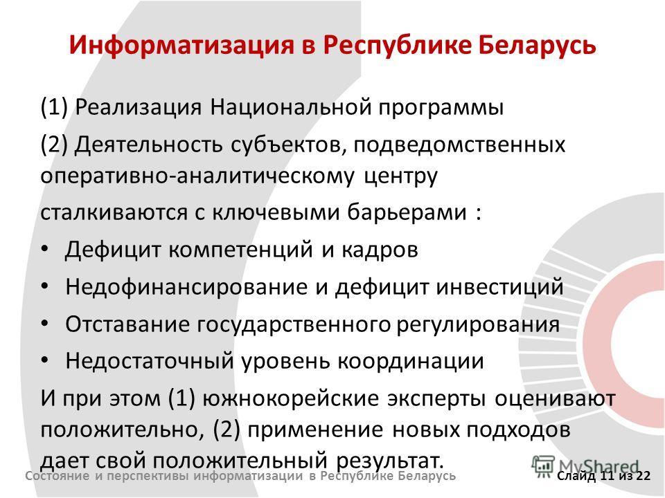Информатизация в Республике Беларусь (1) Реализация Национальной программы (2) Деятельность субъектов, подведомственных оперативно-аналитическому центру сталкиваются с ключевыми барьерами : Дефицит компетенций и кадров Недофинансирование и дефицит ин