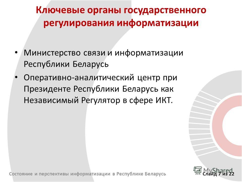 Ключевые органы государственного регулирования информатизации Министерство связи и информатизации Республики Беларусь Оперативно-аналитический центр при Президенте Республики Беларусь как Независимый Регулятор в сфере ИКТ. Состояние и перспективы инф