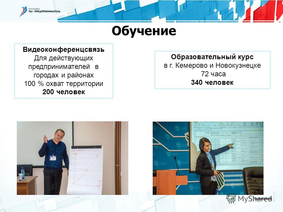 Обучение Видеоконференцсвязь Для действующих предпринимателей в городах и районах 100 % охват территории 200 человек Образовательный курс в г. Кемерово и Новокузнецке 72 часа 340 человек