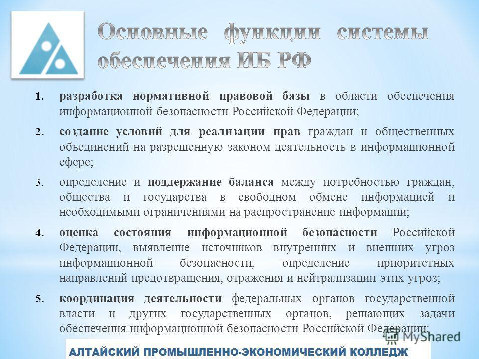 1. разработка нормативной правовой базы в области обеспечения информационной безопасности Российской Федерации; 2. создание условий для реализации прав граждан и общественных объединений на разрешенную законом деятельность в информационной сфере; 3.