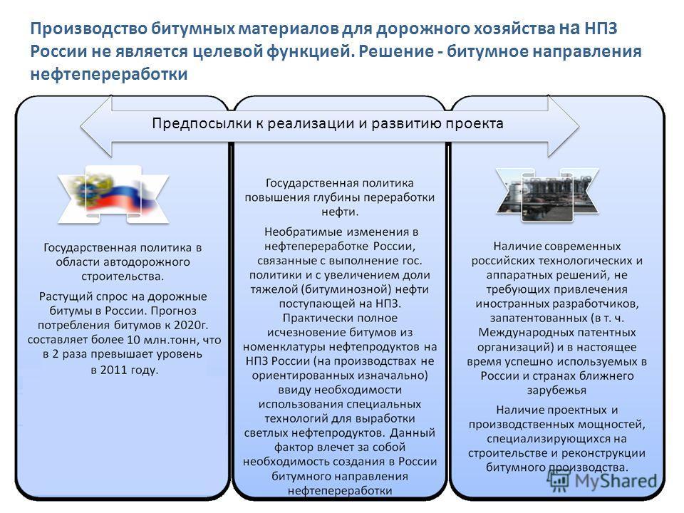 Производство битумных материалов для дорожного хозяйства на НПЗ России не является целевой функцией. Решение - битумное направления нефтепереработки Предпосылки к реализации и развитию проекта