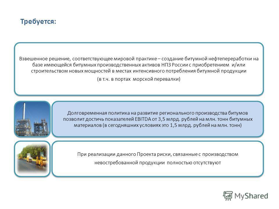 Требуется: Взвешенное решение, соответствующее мировой практике – создание битумной нефтепереработки на базе имеющейся битумных производственных активов НПЗ России с приобретением и/или строительством новых мощностей в местах интенсивного потребления