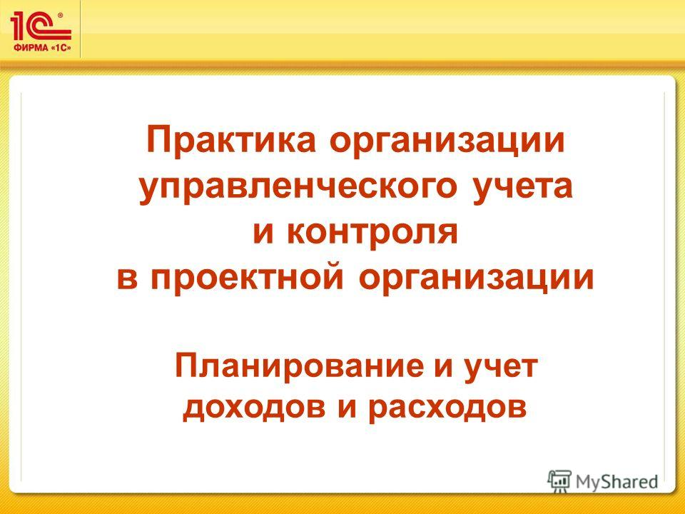 Практика организации управленческого учета и контроля в проектной организации Планирование и учет доходов и расходов