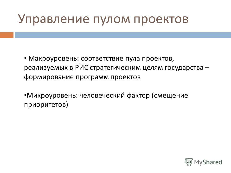 Управление пулом проектов Макроуровень: соответствие пула проектов, реализуемых в РИС стратегическим целям государства – формирование программ проектов Микроуровень: человеческий фактор (смещение приоритетов)