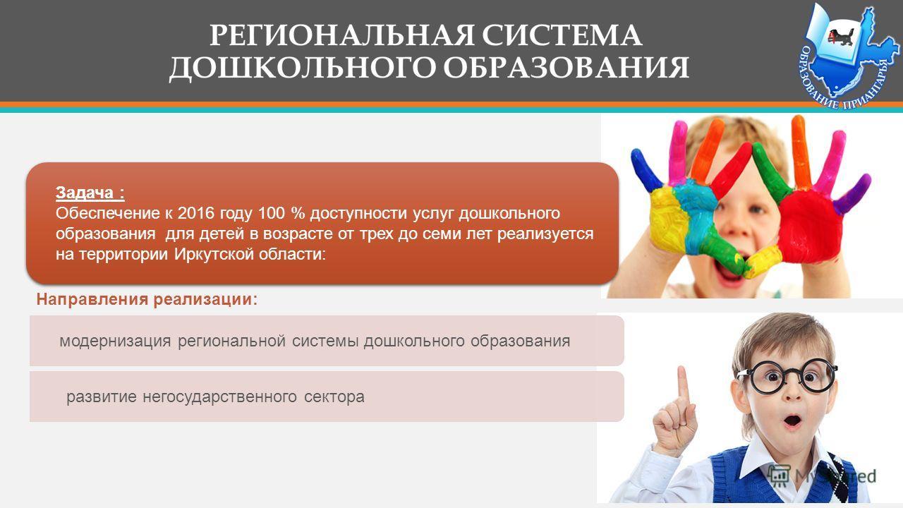 Задача : Обеспечение к 2016 году 100 % доступности услуг дошкольного образования для детей в возрасте от трех до семи лет реализуется на территории Иркутской области: модернизация региональной системы дошкольного образования развитие негосударственно