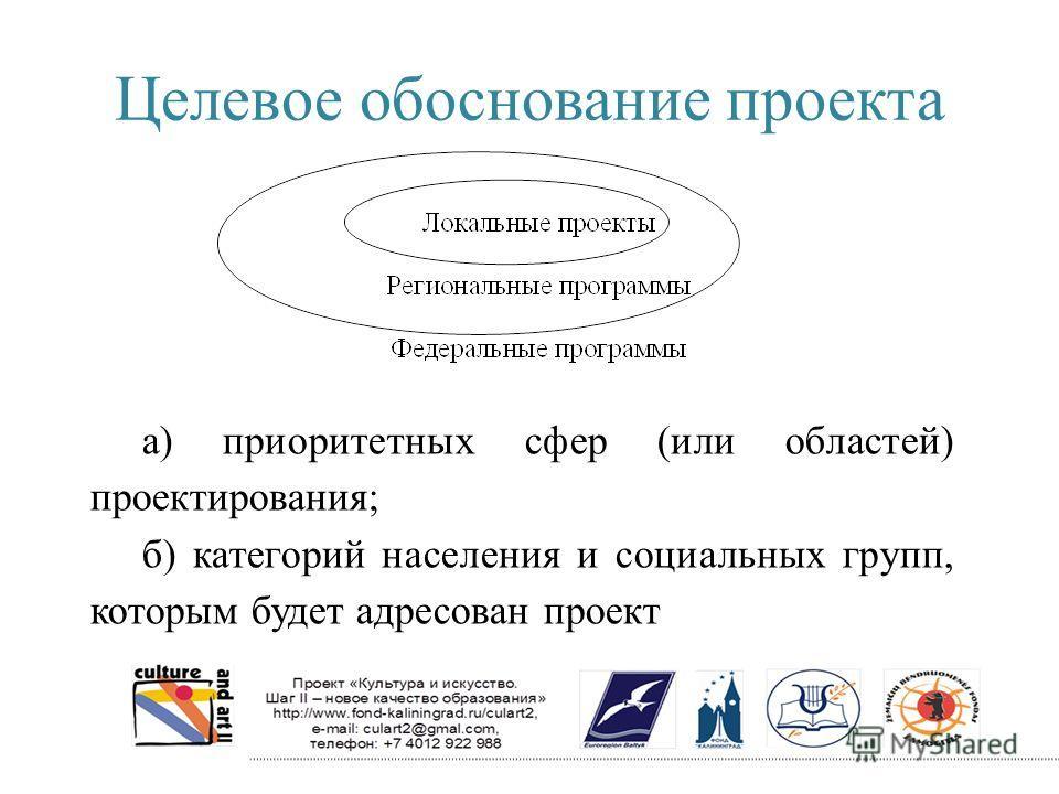 Целевое обоснование проекта а) приоритетных сфер (или областей) проектирования; б) категорий населения и социальных групп, которым будет адресован проект