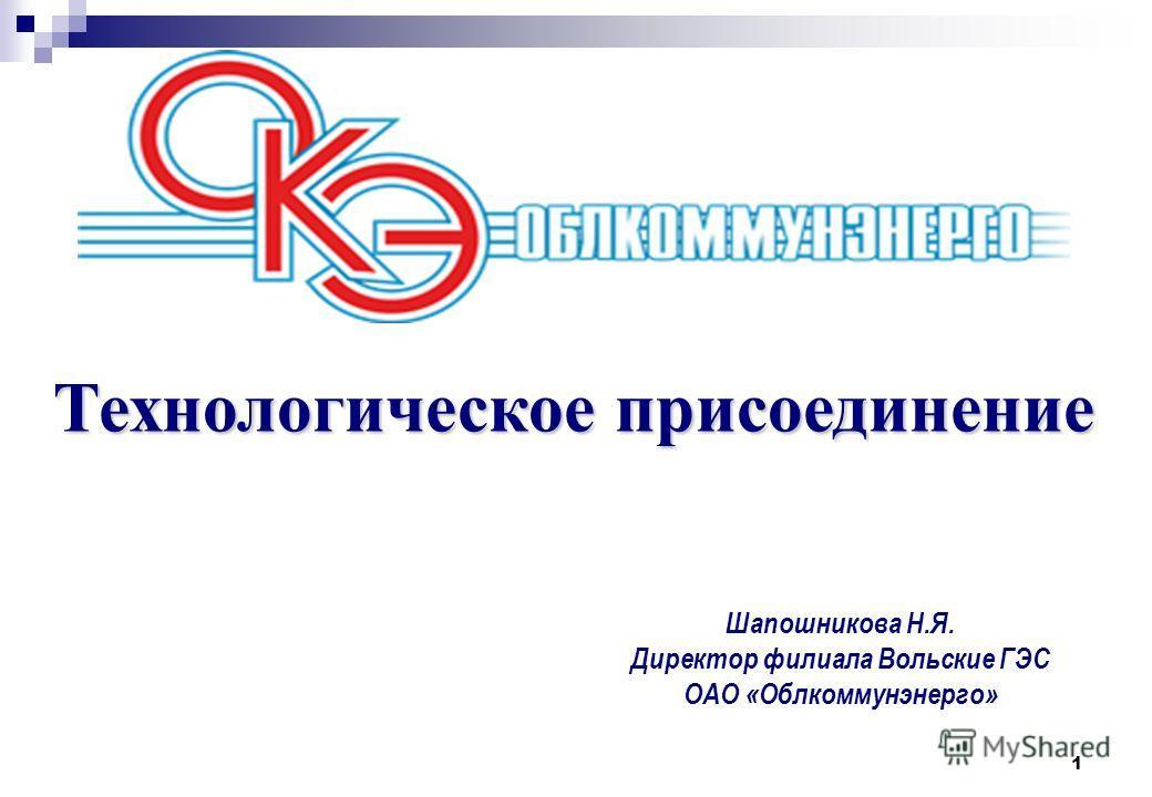 1 Технологическое присоединение Шапошникова Н.Я. Директор филиала Вольские ГЭС ОАО «Облкоммунэнерго»