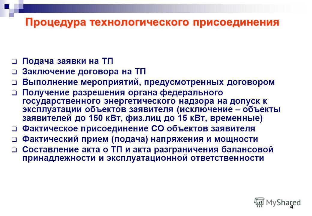 4 Процедура технологического присоединения Подача заявки на ТП Заключение договора на ТП Выполнение мероприятий, предусмотренных договором Получение разрешения органа федерального государственного энергетического надзора на допуск к эксплуатации объе