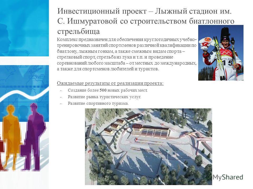 Инвестиционный проект – Лыжный стадион им. С. Ишмуратовой со строительством биатлонного стрельбища Комплекс предназначен для обеспечения круглогодичных учебно- тренировочных занятий спортсменов различной квалификации по биатлону, лыжным гонкам, а так