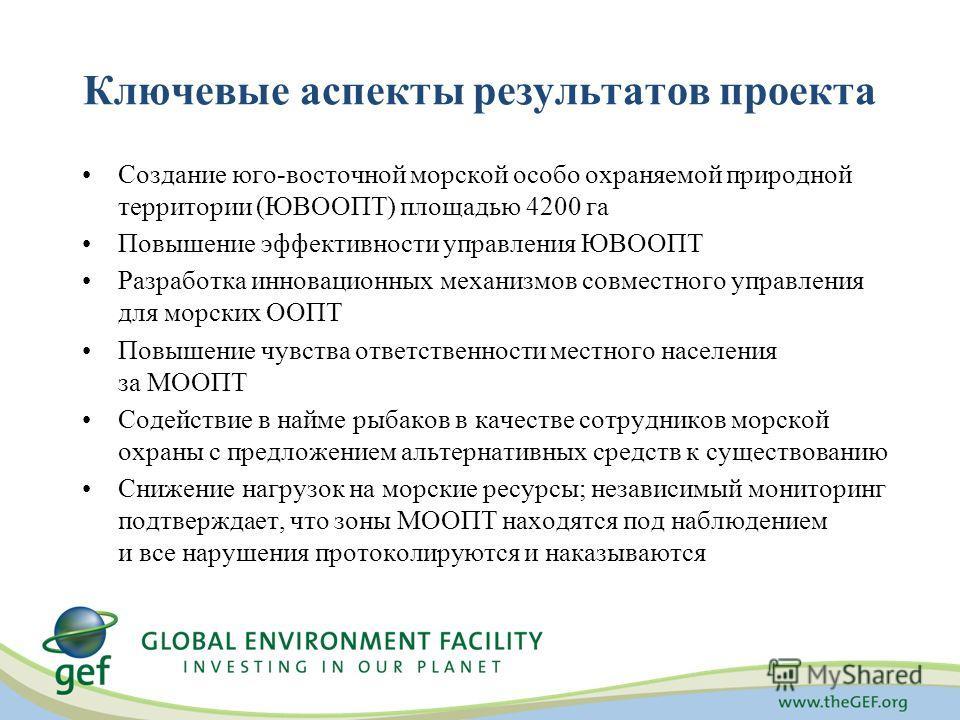 Ключевые аспекты результатов проекта Создание юго-восточной морской особо охраняемой природной территории (ЮВООПТ) площадью 4200 га Повышение эффективности управления ЮВООПТ Разработка инновационных механизмов совместного управления для морских ООПТ