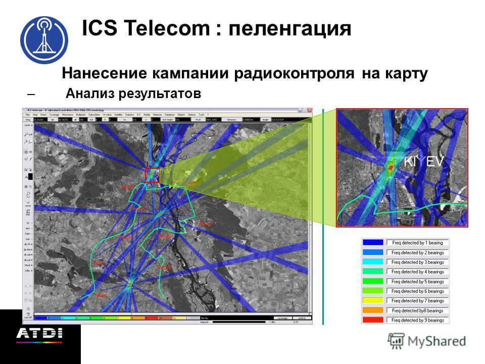 Нанесение кампании радиоконтроля на карту –Анализ результатов ICS Telecom : пеленгация