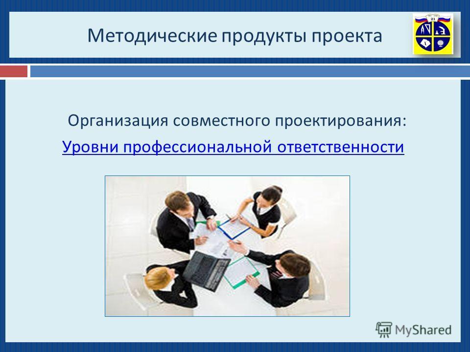 Методические продукты проекта Организация совместного проектирования : Уровни профессиональной ответственности