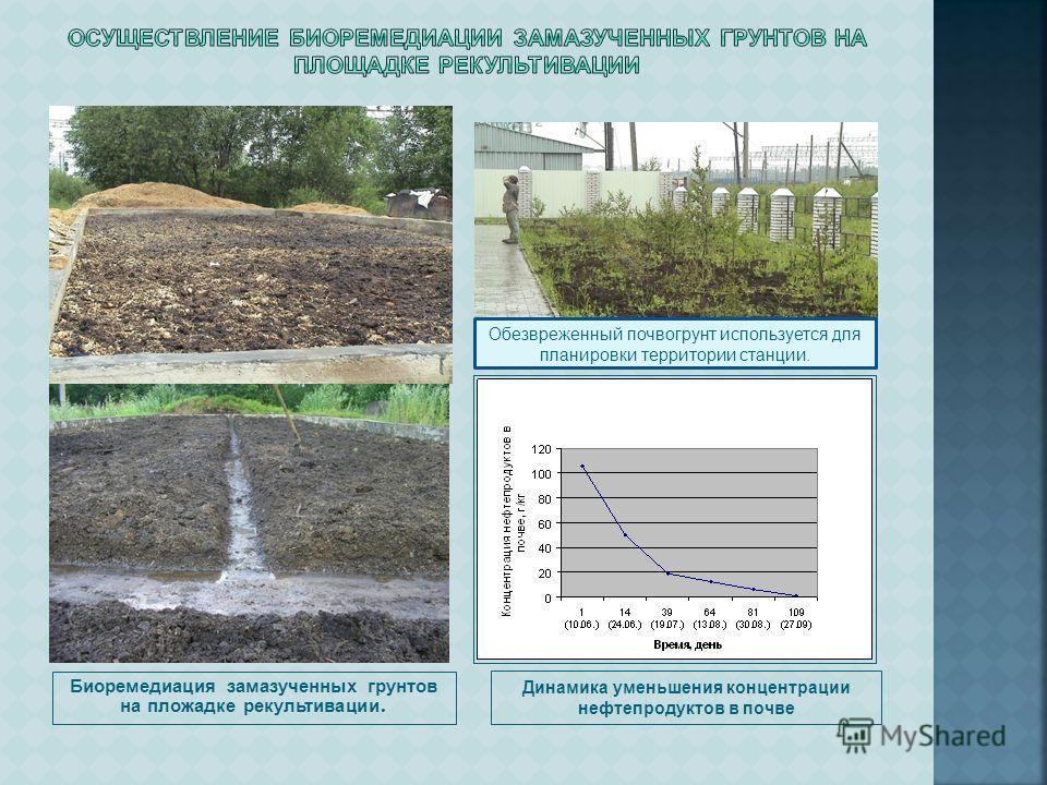 Биоремедиация замазученных грунтов на площадке рекультивации. Динамика уменьшения концентрации нефтепродуктов в почве Обезвреженный почвогрунт используется для планировки территории станции.