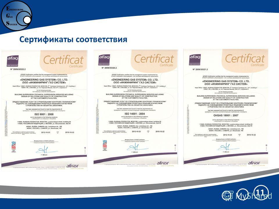 Сертификаты соответствия 11 E ngineering G as S ystem