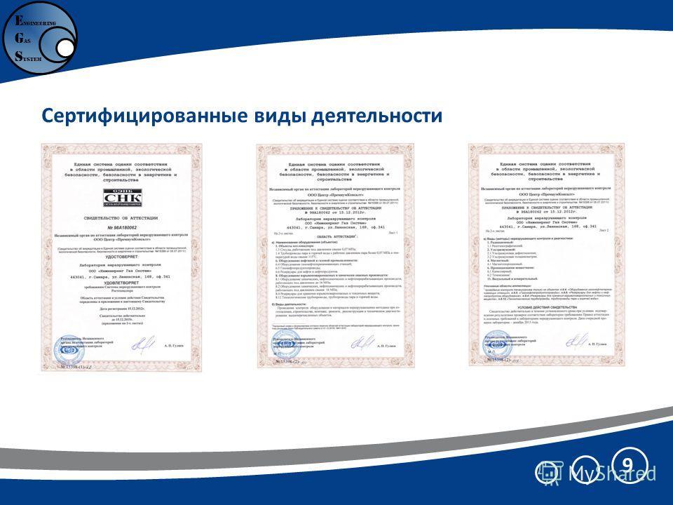 9 E ngineering G as S ystem Сертифицированные виды деятельности
