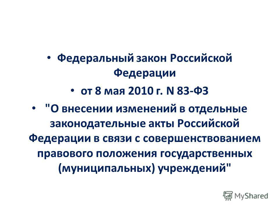 Федеральный закон Российской Федерации от 8 мая 2010 г. N 83-ФЗ О внесении изменений в отдельные законодательные акты Российской Федерации в связи с совершенствованием правового положения государственных (муниципальных) учреждений