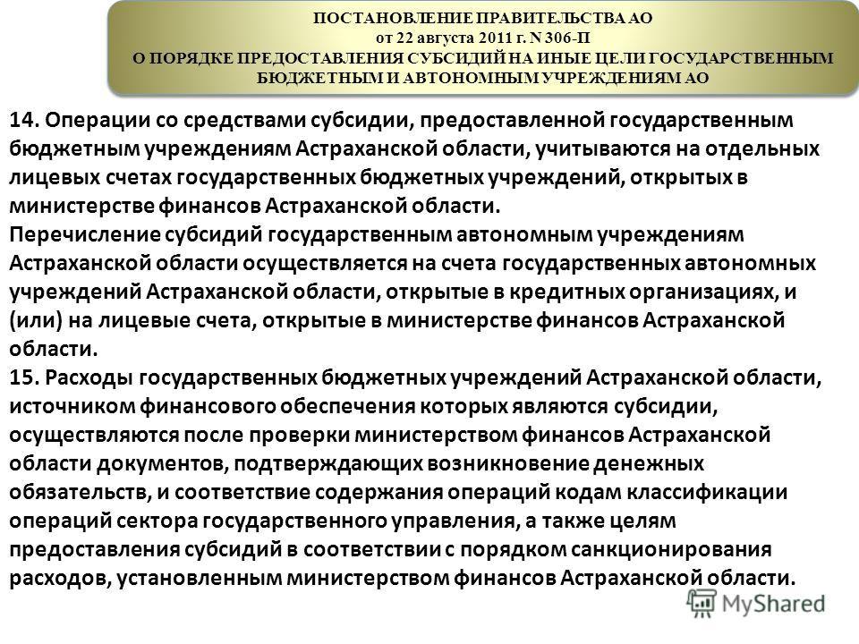 ПОСТАНОВЛЕНИЕ ПРАВИТЕЛЬСТВА АО от 22 августа 2011 г. N 306-П О ПОРЯДКЕ ПРЕДОСТАВЛЕНИЯ СУБСИДИЙ НА ИНЫЕ ЦЕЛИ ГОСУДАРСТВЕННЫМ БЮДЖЕТНЫМ И АВТОНОМНЫМ УЧРЕЖДЕНИЯМ АО ПОСТАНОВЛЕНИЕ ПРАВИТЕЛЬСТВА АО от 22 августа 2011 г. N 306-П О ПОРЯДКЕ ПРЕДОСТАВЛЕНИЯ СУ