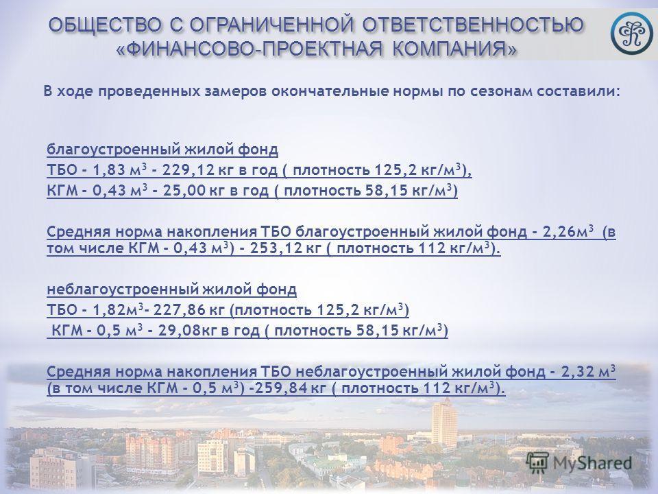 ОБЩЕСТВО С ОГРАНИЧЕННОЙ ОТВЕТСТВЕННОСТЬЮ «ФИНАНСОВО-ПРОЕКТНАЯ КОМПАНИЯ» благоустроенный жилой фонд ТБО - 1,83 м 3 - 229,12 кг в год ( плотность 125,2 кг/м 3 ), КГМ - 0,43 м 3 - 25,00 кг в год ( плотность 58,15 кг/м 3 ) Средняя норма накопления ТБО бл