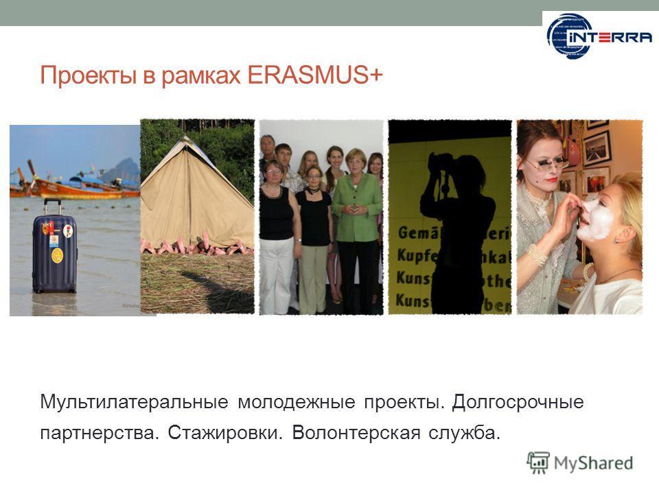 Проекты в рамках ERASMUS+ Мультилатеральные молодежные проекты. Долгосрочные партнерства. Стажировки. Волонтерская служба.