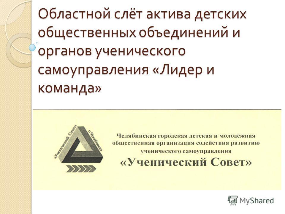 Областной слёт актива детских общественных объединений и органов ученического самоуправления « Лидер и команда »