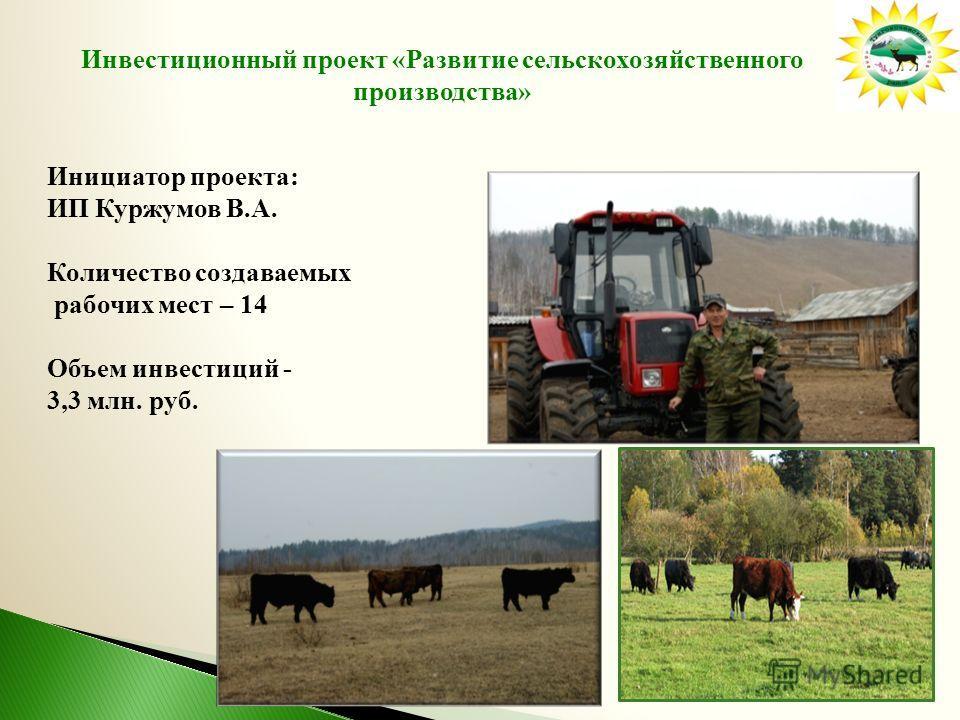 Инвестиционный проект «Развитие сельскохозяйственного производства» Инициатор проекта: ИП Куржумов В.А. Количество создаваемых рабочих мест – 14 Объем инвестиций - 3,3 млн. руб.