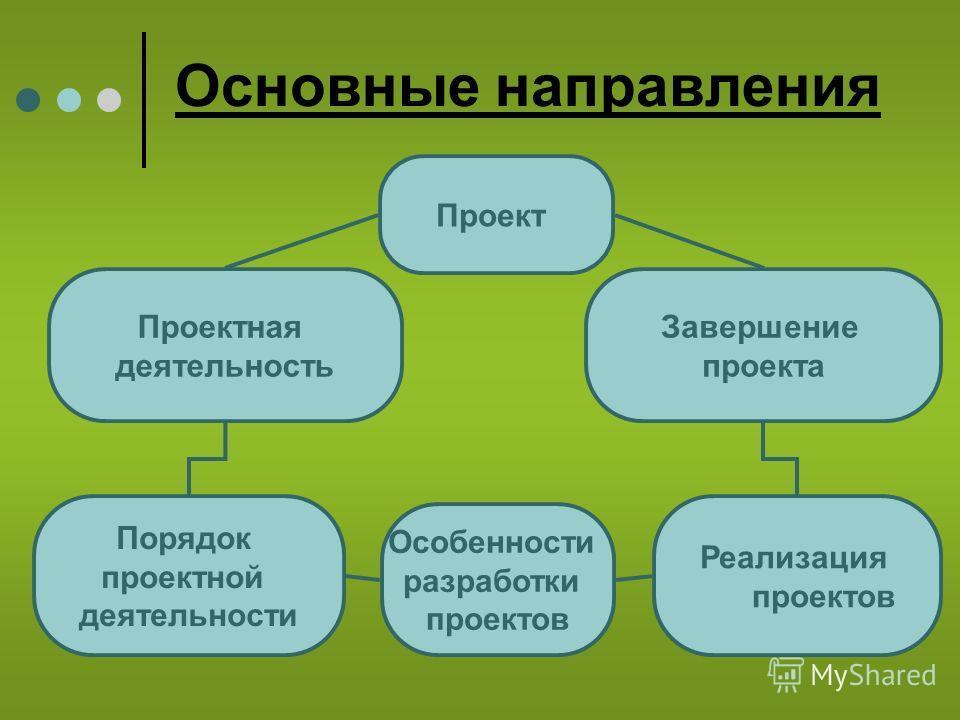 Основные направления Проект Особенности разработки проектов Реализация проектов Порядок проектной деятельности Завершение проекта Проектная деятельность